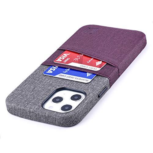 Dockem Luxe M2 Funda Cartera para iPhone 12 Pro MAX: Funda Tarjetero Slim con Placa de Metal Integrada para Soporte Magnético: [Corinto y Gris]