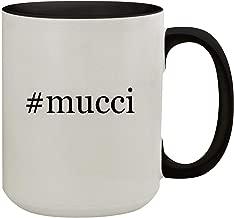 #mucci - 15oz Hashtag Colored Inner & Handle Ceramic Coffee Mug, Black