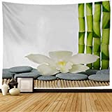 Tapestry Pile Stones Orchid Stack Sauna Bamboo On Mat Zen Relaxation Nature Treatment New Rock with Objects Cool Tapestry Wall Tapestry for Bedroom Wall Decor 80x60 Inch