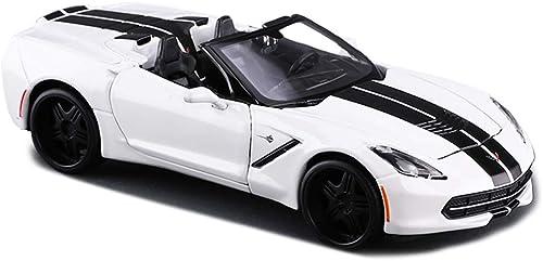 MXueei Maquette de Voiture moulée - Corvette Roadster à l'échelle 1 24 - Modèle de Voiture en Alliage de Simulation Décoration - Blanc