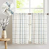 Classic Plaid Kitchen Curtains Checkered Design Linen Textured Green and Taupe Striped Gingham Half Window Curtains for Bathroom, 2pcs 36 inches Length