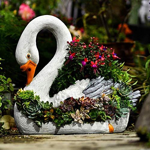LJYY Resina Creativa Cisne Diosa Maceta Maceta barroca Maceta Animales jardín Escultura Estatua...