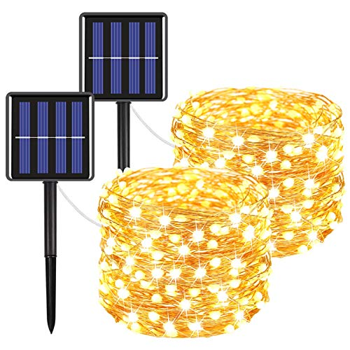 Moon Strike 2-Pack Solar Christmas Lights (Ultra-Bright More Durable), Total 240LED Solar Lights Outdoor String with 8 Modes, Waterproof Copper Wire Fairy Lights for Garden Patio Party(Warm White)