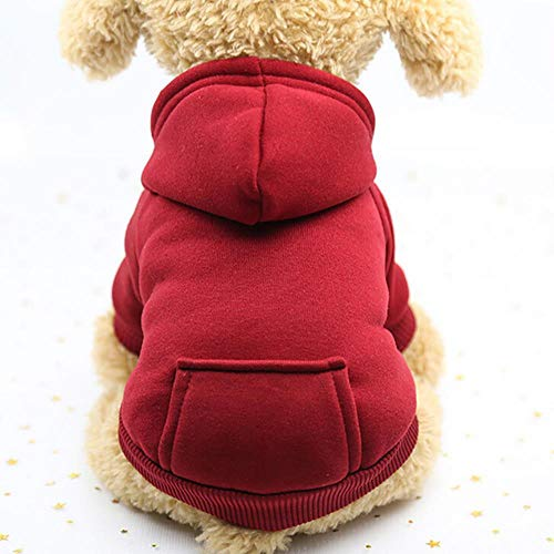 Polyester Hoodied Sweatshirts with Pocket Dog Clothes Pet Clothing Warm Winter Dog Pet Clothes Dropshipping*5,Red,M