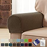 subrtex Spandex Stretch Fabric Armrest Covers Anti-Slip Furniture Protector Armchair Slipcovers for Recliner Sofa Set of 2 with Free Fixing Tools Twist Pins (Coffee), Two Pieces