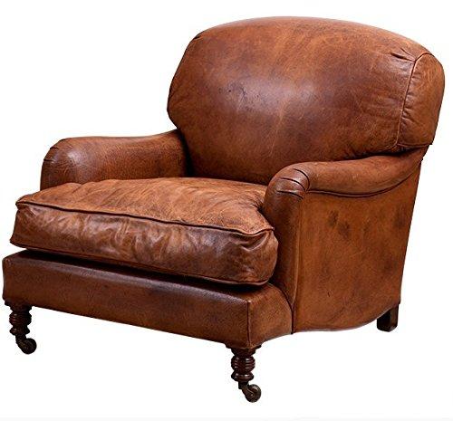 Casa Padrino Chesterfield Echt Leder Ohrensessel Vintage Leder Cigar Braun Club Sessel