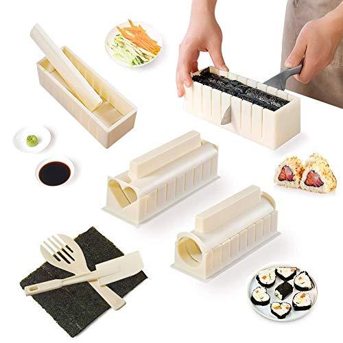 Sushi Making Kit for Beginners, 10 Pieces DIY Plastic Sushi Maker Mold for Making Rice Roll Sushi Rolls, DIY Plastic Sushi Maker Tool, Complete Sushi Making Kit Set