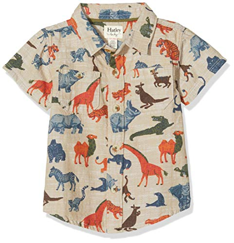 Hatley Short Sleeve Button Down Shirts Chemise, Blanc (Jungle Safari 100), 3 Ans Bébé Fille