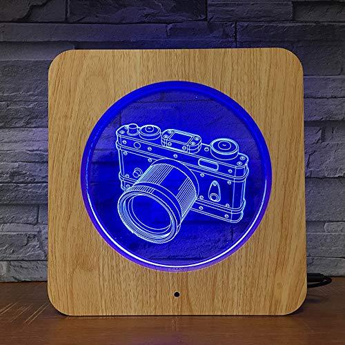 Cámara Foto ABS Plástico DIY d 3D LED Luz de noche Lámpara de mesa Mesita de noche Decoración Regalo de niños