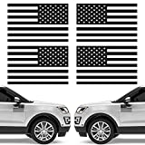 4 Pieces American Flag Car Magnet Decal 4 x 6 Inch Black American Flag Sticker American Flag Emblem Decal Cutout Removable Magnetic US Flag USA Flag Decal for Car Truck SUV Refrigerator Decoration