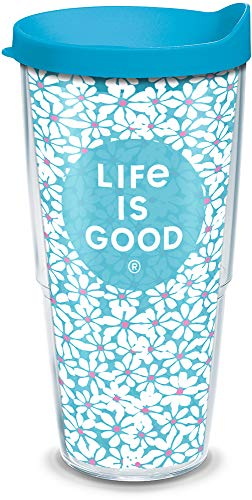 Tervis Made in USA Double Walled Life is Good Insulated Tumbler Cup Keeps Drinks Cold & Hot, 24oz, Small Daisies