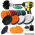 23 Piece Drill Brush Attachment Set - JUSONEY Power Scrubber Kit, Scrub Brush With Extend Long Attachment, Scrubing Pads Cleaning Kit For Tile Sealants, Bathtub, Sinks, Floor, Wheels, Carpet (White)