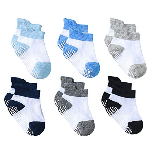 Yoofoss Anti Rutsch Babysocken 6 Paar Antirutsch Baby Socken Säugling Neugeborenes Knöchelsocken Baby Jungen & Mädchen (0-6 Monate)