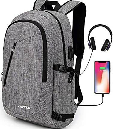 Cafele - Mochila para ordenador portátil antirrobo, resistente al agua, para viaje escolar, con USB