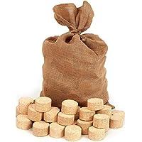 Floranica® Briqueta comprimida en Bolsa de Yute, briquetas de Madera, Redondas/sin Hueco, Ideal para Estufas alicatadas, hornos, Estufas, barbacoas y Otros, Cantidad:2 x 12.5 kg
