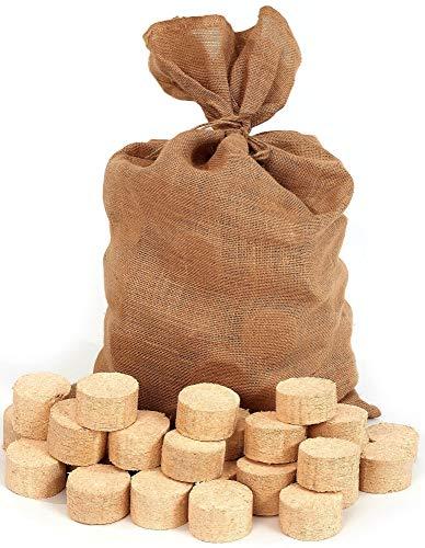 Floranica® Briqueta comprimida en Bolsa de Yute | briquetas de Madera | Redondas/sin Hueco | Ideal para Estufas alicatadas, hornos, Estufas, barbacoas y Otros, Cantidad:2 x 12.5 kg