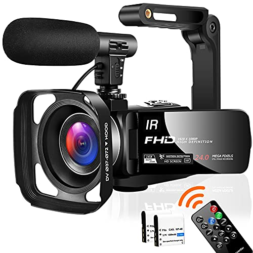 Videokamera Camcorder Full HD 1080P 30FPS 24,0 MP Camcorder HD IR Nachtsicht 3,0 Zoll IPS-Bildschirm 16X Zoom Videokamera HD mit Fernbedienung,externem Mikrofon und Gegenlichtblende