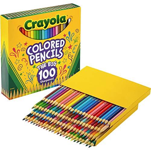 Crayola 688100 Long Barrel Colored Woodcase Pencils, 3.3 mm, 100 Assorted Colors/Set