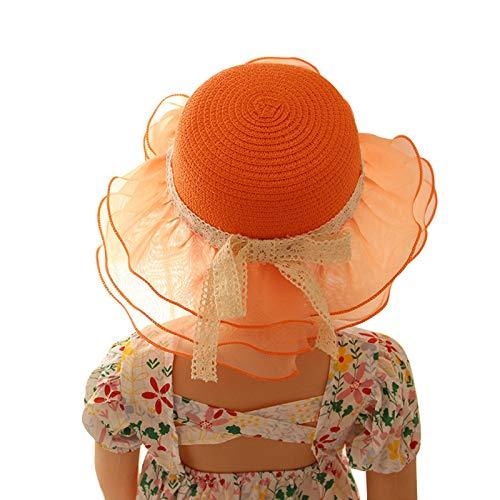 ChouZZ Sombrero de paja de encaje de verano para niños pequeños con visera plegable Bowknot Beach Sombreros de ala ancha 2-6T
