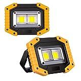 2-Pack Luz de Trabajo LED Recargable, Luz de Inundación Portátil 30W USB, 3 Modos, Linterna al Aire Libre Impermeable para...