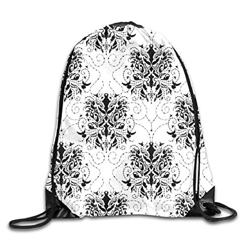 show best Cat Damask Drawstring Gym Bag for Women and Men Polyester Gym Sack String Backpack for Sport Workout, School, Travel, Books 14.17 X 16.9 inch