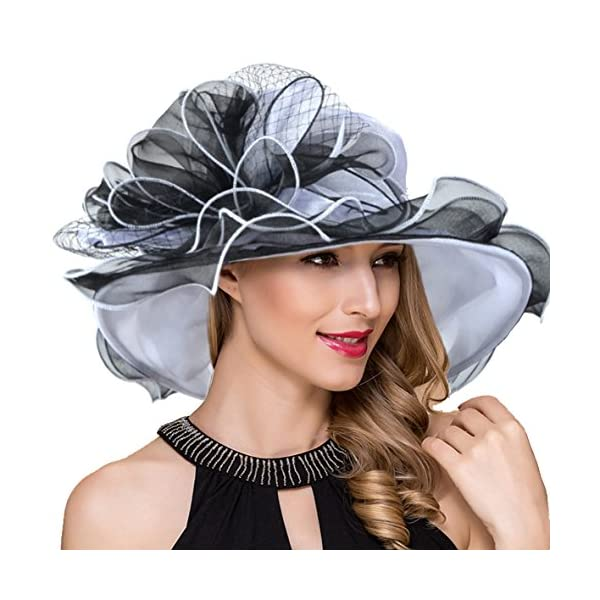 Women Kentucky Derby Church Dress Fascinator Wide Brim Tea Party Wedding Hats S042b