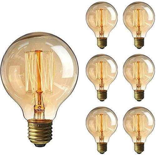 Lot de 6 ampoules Edison vintage à intensité variable - 40 W - Culot à vis E27 - Ampoules à filament en spirale - G80 - 220 V - Lumière blanche chaude