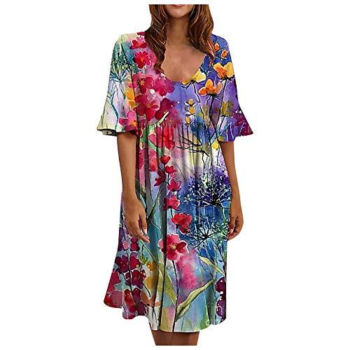 Falda Moda Vestido Flores Suelta Vestido de Manga de Hoja de Loto Floral Retro de Moda Ocasional de Las señoras de la Moda Flamenca Vestido Falda Casual más tamaño Suelto Larga con Grande para Mujer