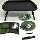 NGT 600 Deluxe Carp Fishing Picnic Cutlery Set + Plastic Bivvy Table With Bag
