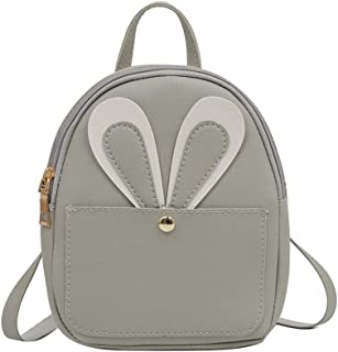 New Multi-Purpose Backpack Soft PU Female Bag Rabbit Shoulder Bag (Color : Grey)