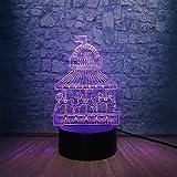 Regalo de boda Regalos de Navidad Lámpara 3D Creative Horse Happy Holiday Carrusel 3D Night Light Illusion Atmosphere Girl Room Decor LED Desk Table Lamp Regalos de Navidad con control remoto