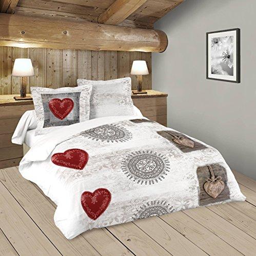 Lovely Casa Woody Housse de couette 240 x 220 cm avec 2 Taies d'oreiller 63 x 63 cm, Coton, Beige