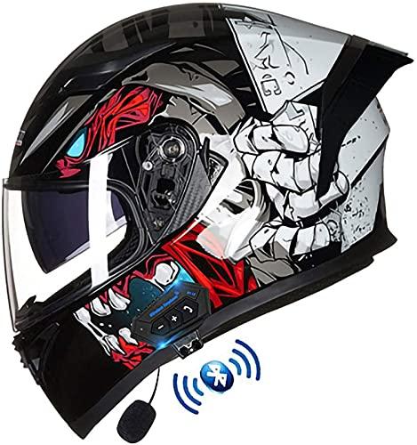 Casco de Moto Modular con Bluetooth Integrado ECE Homologado Casco de Moto Integrado con Doble Visera Cascos Integrale de Moto Modulares para Hombres y Mujere(Color:C,Size:M=57-58CM)