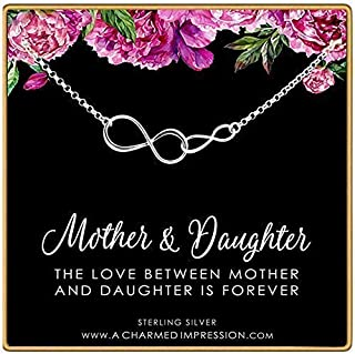 Mother Daughter Necklace • Gift for Mom • Daughter Gifts from Mom • New Mom Gifts • Card and Jewelry • 925 Sterling Silver • Double Infinity Charm Necklace • Personalized Gifts Women • Infinite Love
