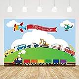 Happy Birthday Backdrop for Kids Transportation 1st Birthday Background for Boy 5x3ft Plane Train Car Transportation Birthday Party Supplies for Boys Girls Birthday Photo Booth Props Cake Table Decor