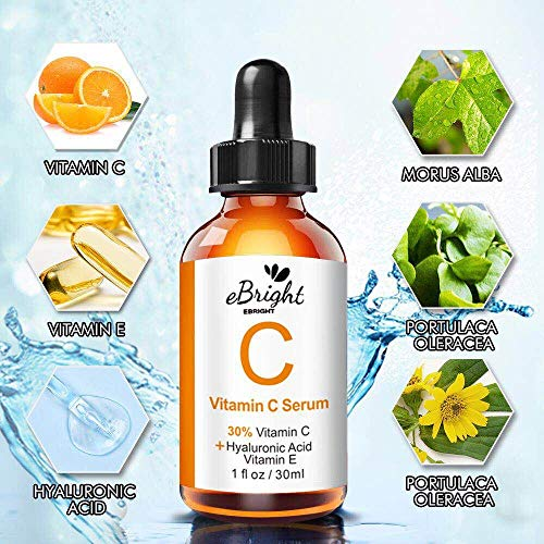 519XQ1neA8L - Super Vitamin C Serum for Face, Anti Aging & Anti Wrinkle Whitening Facial Serum with Niacinamide, Vitamin E, Hyaluronic Acid, and Salicylic Acid, 1 oz (Orange)