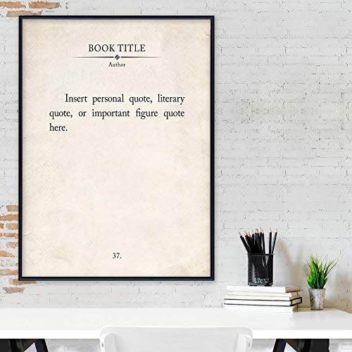 Custom Quote Vintage Book Page Print. Fine Art Paper, Laminated, or Framed. Multiple Sizes for Home, Office, or School