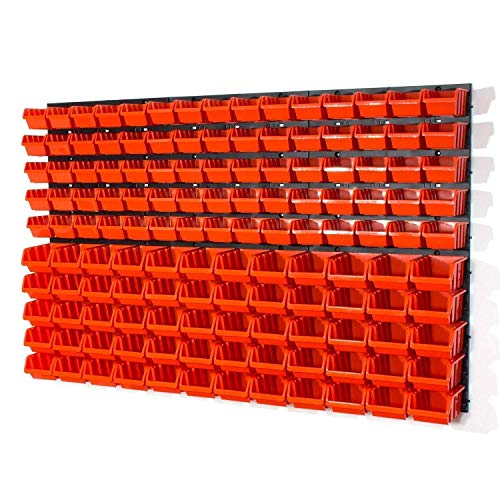 Lager Werkstatt Wandregal Lagerregal 75 Stapelboxen Orange Gr.1, 60 Stapelboxen Orange Gr.2 + Organizer