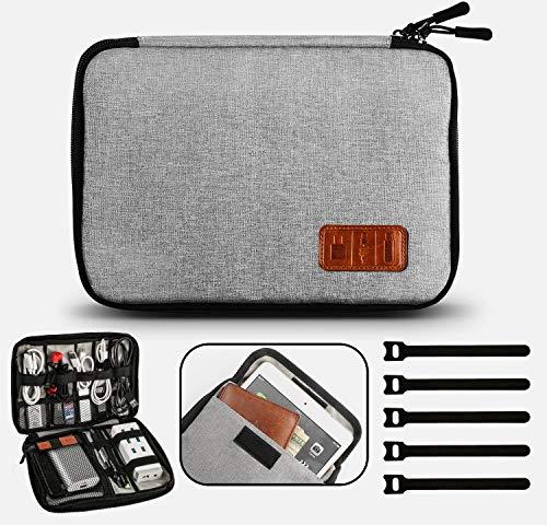 Gibot Case organizza per Cavi ed Elettronica, Impermeabile Viaggio Borsa Portatile Organizzatore Accessori Digitali Sacchetto Organizzatore con Scomparti per Smatphone,Tablet,USB,Hard disk Gray