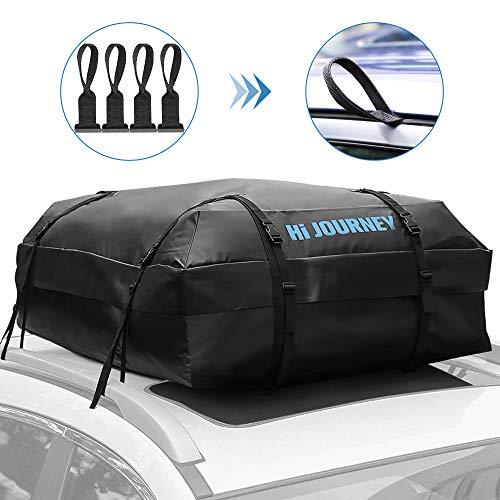 Tchipie Faltbares Dachbox für Auto, wasserdichte Dachgepäckträger-Tasche, Tragbare Dachtasche für Reisen, Dachkoffer für PKW mit 4 Türhaken, 450 Liter, Schwarz, Geeignet für SUV Und Die Meisten Autos