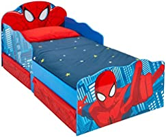 Hellohome 509 SDR Spiderman Children's Bed with Bright Eyes and Substrate Container, Wood, Red, 142 x 77 x 64 cm