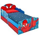 Hello Home Spider-Man Lit pour Garçons avec Yeux Lumineux et Rangement sous le Lit, Rouge