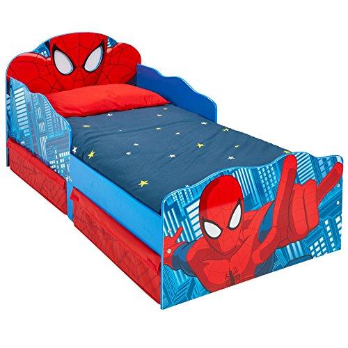 HelloHome 509SDR Lettino per Bambini Spider Man con Occhi Luminosi e Contenitore Sottoletto, Legno, Red, 142 x 77 x 64 cm