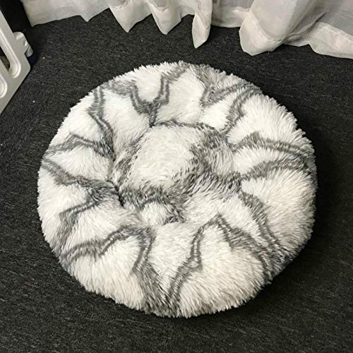 SeaYork Round Plush Dog Bed For Cats House Pet Bed for Dogs Bed Basket Animals Products sofá Long Cat Bed Cushion 90cm Gray-White