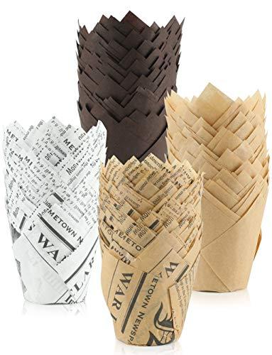 ALAGIRLS 200 Stück Backförmchen Tulpen Muffinform Formen Papier Cupcake Liner für Cupcakes Fettdicht für Hochzeit Geburtstag Party