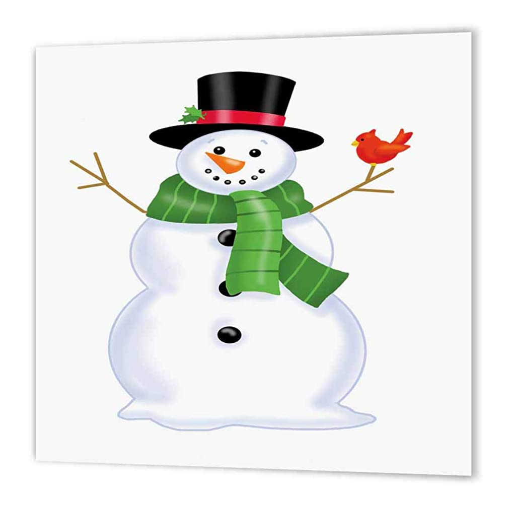 3dRose ht_217038_2 Cute Christmas Snowman with a Scarf and a Bird Iron on Heat Transfer for White Material, 6