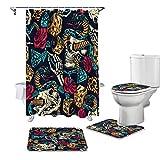 ZHEBEI Rose Blume Schlange Duschvorhang Set Rutschfest Teppich WC Deckelbezug & Badezimmer Anti-Rutschmatte Badezimmer Vorhang Set