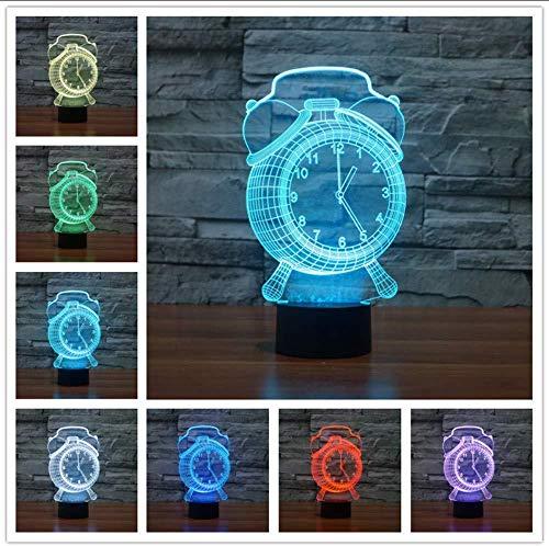 3D nachtlampje wekker tafellamp USB nachtlicht voor slaapkamer baby slaap verlichting kinderen kerstgeschenken