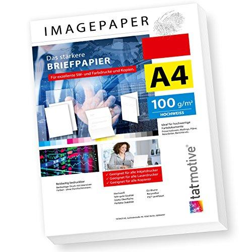 TATMOTIVE Imagepaper 100g/qm A4, das stärkere Briefpapier, brillante Drucke für alle Drucker, 2500 Blatt - weiß Druckerpapier