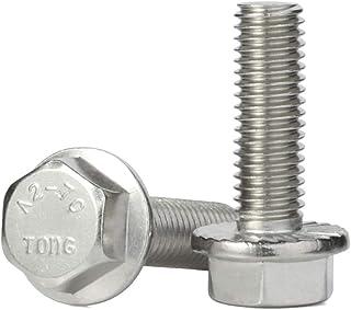 M8-1.25 x 25mm Flanged Hex Head Bolts Flange Hexagon Screws, Stainless Steel A2-70, DIN 6921, 15 PCS